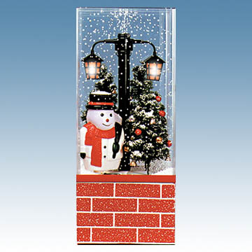 musical snowing christmas scene with snowman