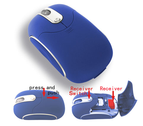 Wireless mouse with hidden receiver