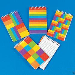 Rainbow Glitter Spiral Notepads.