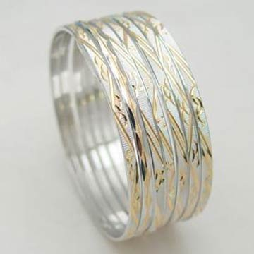 Engraved Silver Bangles