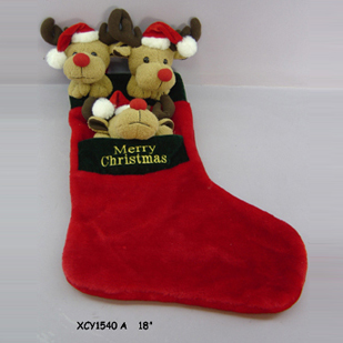 Christmas socks with plush Reindeer