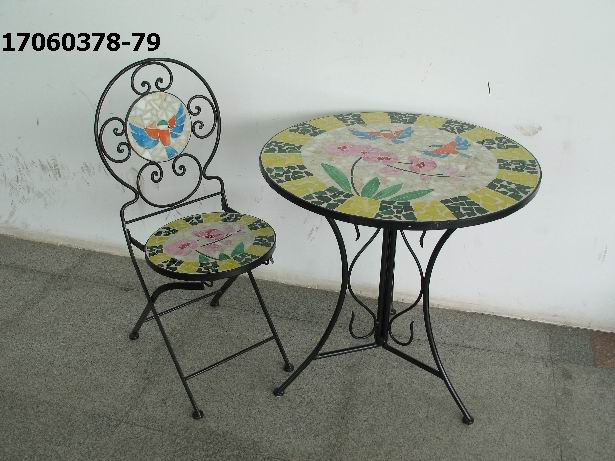 stained glass table & chair