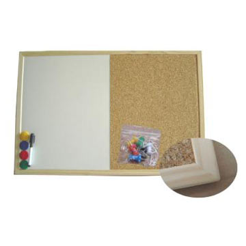 Cork/white board in wooden frame
