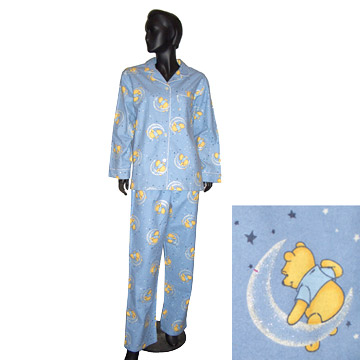 Ladies' 100% Cotton Printed Flannel Pajamas