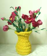 handmade cloth artistic vase & flower