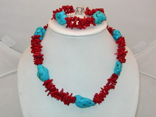 Red coral necklace & bracelet set with blue turquoise