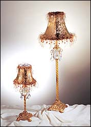 Glass Crystal Table Lamp With Fabric Shade & Beads