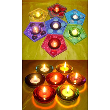 Sprayed Round Shape Tealight Candle Holders