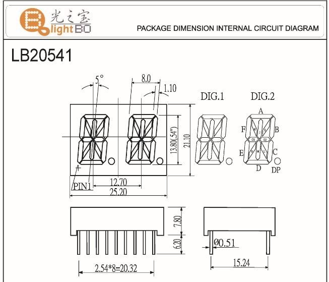 14 Segment Alphanumeric Led Displays Pin Out And Internal Circuit Diagram