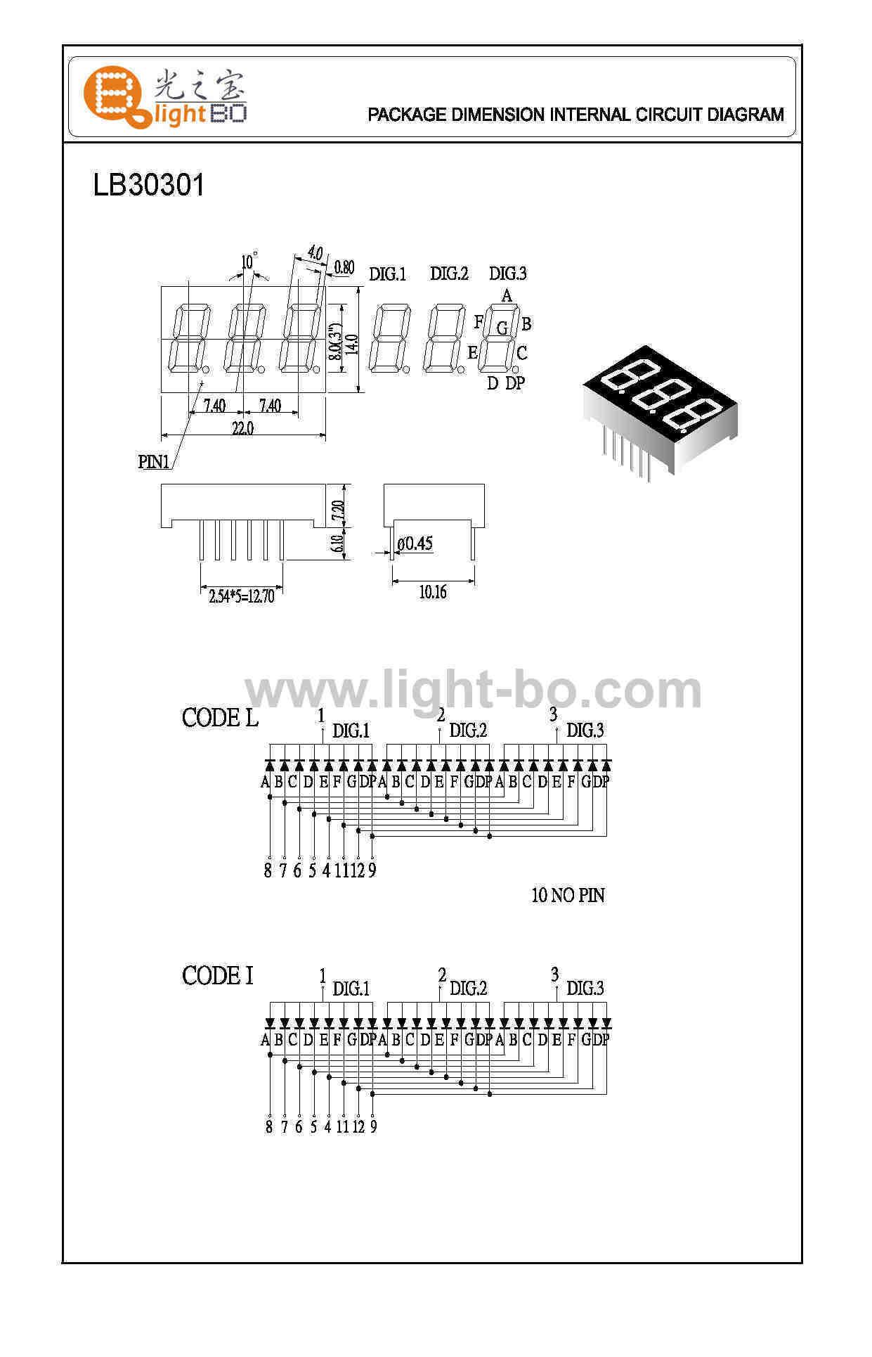 dreistelligen 7-Segment-LED-Displays Gehäuseabmessungen, Schaltplan ...