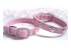 Leather Rhinestone Pet Collar