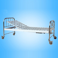 Steel Surface Single Shake Bed with Stainless Steel Bedside (with castors)