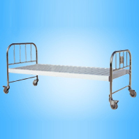 Steel Surface Flat Bed with Stainless Steel Bedside (with castors)