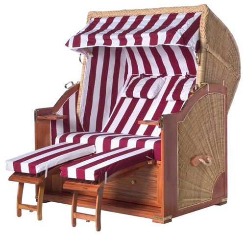 Beach Basket Cabana Wicker Roofed Chair Strandkorb