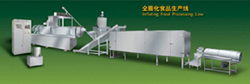 Inflating food processing line