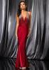 Floor Length Red Prom Dress with Beaded Halter