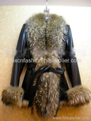 Leather Coat Whith Raccoon Fur Collar
