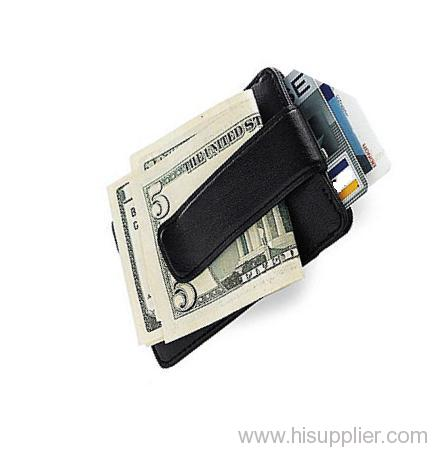 leather money clip with card holder