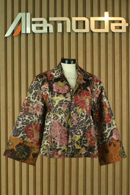 Rayon printed Jacquard jacket with embroidery
