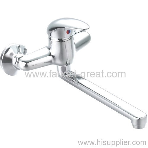 Wall Mounted Kitchen Faucet With Brass Spout