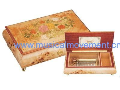 WOOD MUSIC BOX 50 NOTE LUXURY WIND UP SPRING MUSICAL MOVEMENT