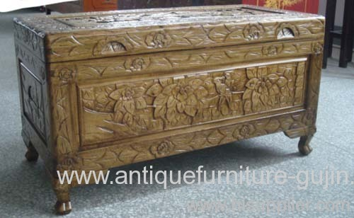 antique reproduction carving trunk