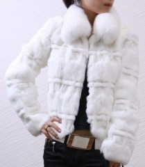 Ladies' Rabbit Fur Coat With Blue Fox Fur Collar