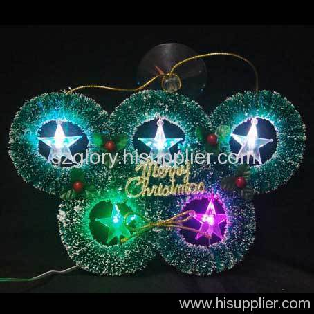 USB flower wreath with 5 LEDs star 7 color changing