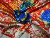 100% silk satin printed fabrics with paisley design