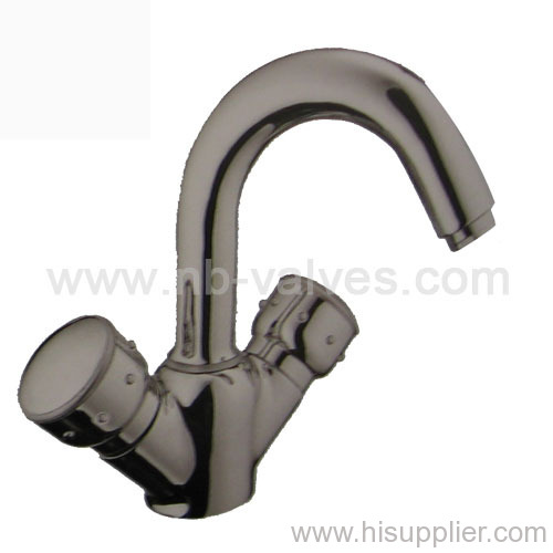 Hot and cold basin mixer