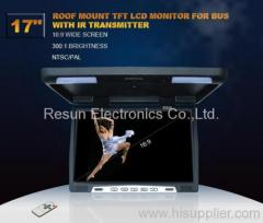 17 inch TFT LCD Flip Down Overhead Monitor with IR Transmitter
