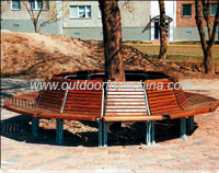 ring bench, park bench, outdoor bench, steel bench, wood bench
