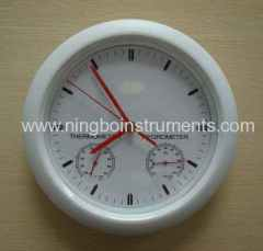 Garden thermometer & hygrometer include clock