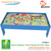 80 pcs wooden railway play toy set on the wooden table
