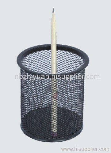 Black Metal Mesh Pen Cup