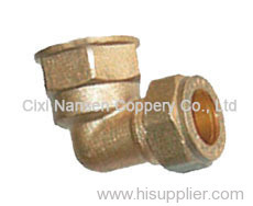Brass compression elbow pipe fitting
