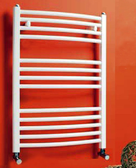 White Curved Heated Towel Rails