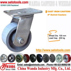 Cast iron casters - 4 inc swivel gray iron casters