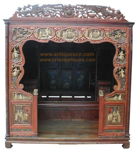 B-041p1a Chinese furniture, antique marriage room bed, Asian bed