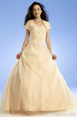 Elegant A-line Straplesss Floor-length Applique Beads prom gown