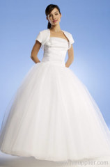 Elegant Flat Organza &Satin A-line Straplesss Floor-length Beads prom gown
