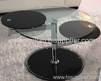 clear round tempered glass coffee table