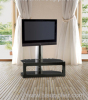 Black Tempered Glass LCD Plasma TV Stand