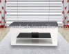 Black Tempered Glass White MDF Plasma TV Stand