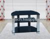 Black Tempered Glass Silver Aluminum Tube Plasma TV Stand