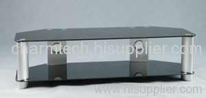 Black Tempered Glass Silver Aluminum Tube LCD TV Stand