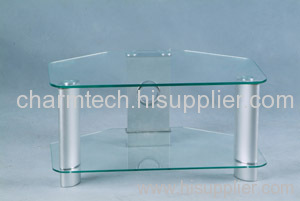 Clear Tempered Glass Silver Aluminum Tube TV Stand