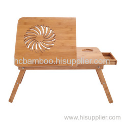 Foldable Bamboo Laptop Desk with Cooler Fan