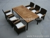 Garden rattan furniture teak wood table chairs