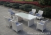 6 seater PE rattan dining table and chairs
